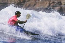 kayak surfer John Grossman: 1st place Men\'s K1 Expert Open.