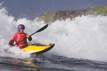 Kayak surfer Brigitte Brandstatter: 1st place Women\'s International Classic.