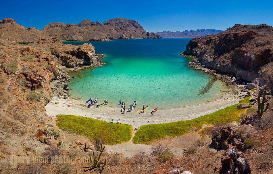 Honeymoon Cove, a four-image panorama stitch. Isla Danzante, Baja, Mexico.