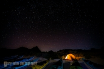 Starry night at Isla Carmen camp, looking north. Baja, Mexico.