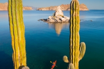 Sea kayaker at Agua Verde, Sea of Cortez, Baja, Mexico.