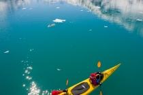 Sea kayakers in John Hopkins Inlet, Glacier Bay, Alaska.