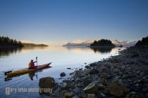 Sea Kayaker near Sandy Cove, Glacier Bay National Park, Alaska, USA.