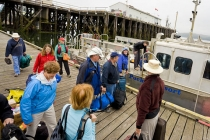 Loading onto the shuttle boat at Port Hardy; God\'s Pocket is 50 minutes away.