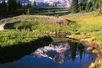 Mirror pond reflects Mt. Rainier. Canon Elan7e. 24mm T/S.