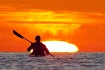 Paddling into Sea of Cortez sunrise