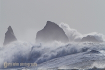 Winter storm with 35 ft swell at La Push, Washington.