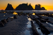 Sunset at Point of Arches, Olympic National Park.