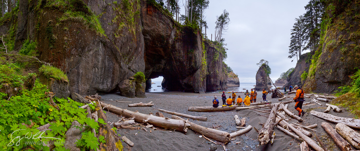 A group of sea kayakers come ashore for a break at Cape Flattery, the Northwestern-most point in the continenal US. Assembled from vertical images shot on a tripod with panorama tool.