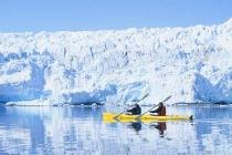 Harriman Glacier. Sea kayaking near the clean, angelic ice of the Harriman Glacier, Prince William Sound, Alaska.