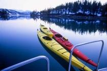 Sea Kayaks. In a quiet bay in Nellie Juan Fjord, Prince William Sound, Alaska.