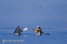 Women sea kayakers on a blissful day, Port Susan, Puget Sound, Washington, USA.