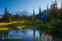 Backpacker at Indian Henry\'s Hunting Ground, Mt.Rainier reflecting in a tarn. Mt. Rainier NP,