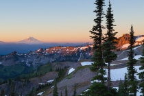 Sunrise at Ohanapecosh Park, east side of Mt. Rainier, along the Wonderland Trail. Mt. Adams in the distance.