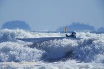Sea kayaker Don Howard braces into a wave at Makah Bay, Olympic Coast, Washington