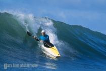 Jonathan Fortner kayak surfing at Santa Cruz Kayak Surf Festival, Santa Cruz, CA. (MR).
