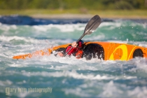 Sea kayaker Bryan Smith at Skookumchuck Rapids, British Columbia, Canada. (MR).