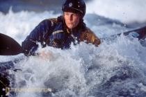 Shawna Franklin, kayak surfing Skookumchuck Rapids, British Columbia, Canada.