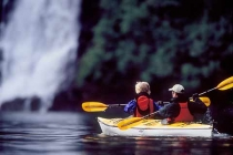 Red Bluff Bay. Sea kayaking in Red Bluff Bay on the waterfall east coast of Baranof Island, Alaska.