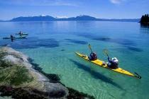 Paddling Baranof Island. Sea kayaking in Chatham Strait along the east coast of Baranof Island, Alaska.