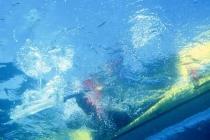 Roll practice. Underwater view of the Eskimo roll, Waldo Lake, Oregon.
