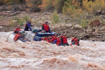 Cataract Canyon. Tag-A-Long Raft Guide Karen Sallon steers through a Colorado River rapids.