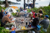 Kayak camp at Cedar Creek on the Olympic Coast, Olympic National Park, Washington State.