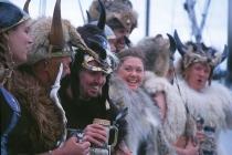 Viking invaders. Petersburg locals in Viking garb celebrate the Norwegian holiday aboard the Ursa Major. Petersburg, Alaska.