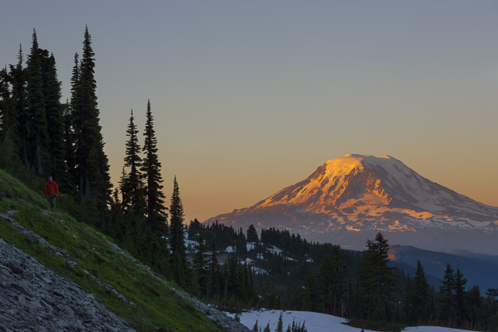 Mt. Adams from Goat Rocks Wilderness, Washington State. Canon 5D III, 70-200mm f/4L @111mm, f/11, 1/50sec, iso100.
