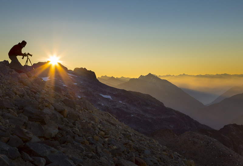 Sunrise near Sahale Glacier camp, Sahale Arm, North Cascades NP, Washington State.
