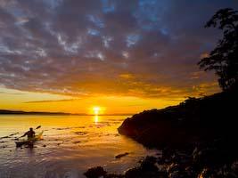 kayaker, Blackfish Sound sunset