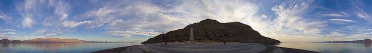 Isla Carmen, Baja, MX. Hand-held 360° panorama. Canon 5D II, 17-40mm @27mm, 1/80sec, f/8, iso100.