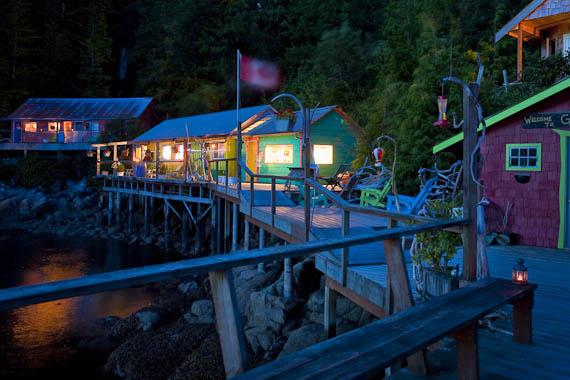 Funky, rustic, relaxing. God's Pocket Resort at dusk.