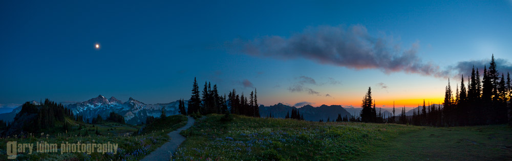 Mazama Ridge after Sunset: Canon 5D II, 17-40mm f/4L @ 28mm (x3), f/8.0, 2 and 8sec, iso100.