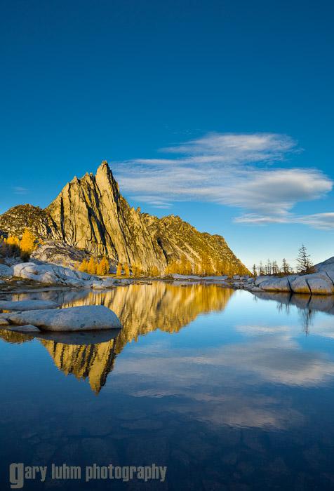 Prusik Peak. Alpine Lakes Wilderness, WA. Canon 5D II, 17-40mm f/4L @21mm, f/11, 1/30sec, iso100.