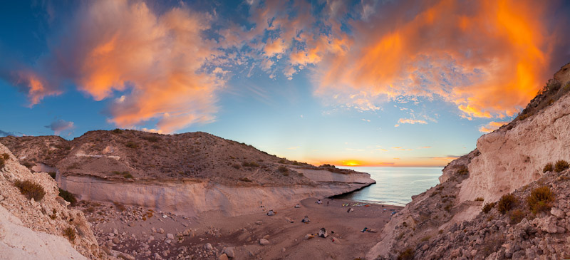 A Baja sunrise panorama, stitched from five vertical images. To balance the light from sky and land, each verical was derived from two different exposures. Canon 5D II, 17-40mm f/4L @ 19mm, f/8, 1/8 and 1/20sec, ISO100