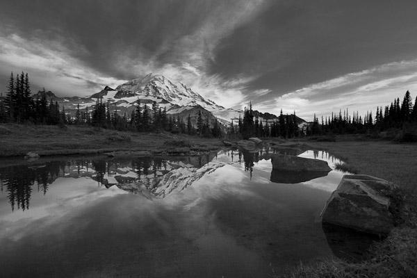 Example 1. Lightroom Black and White Mix luminance admustments darken sky. Mt. Rainier NP, WA