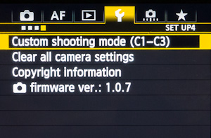 The Custom Shooting register location is in the wrench section of the menu (5D Mark III).
