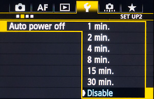 A short-duration Auto power off setting saves battery energy, but Disabling it when Registering your Custom shooting modes is a wise preemptive act (5D Mark III).