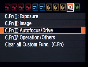 Custom Function III menu highlighted.
