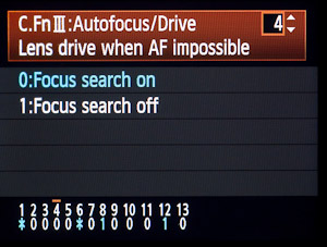 Focus search (0) can be useful, but focus stop (1)