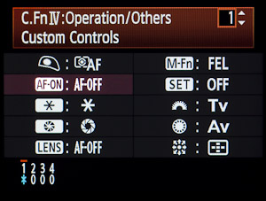 Custom Function IV custom operation list.