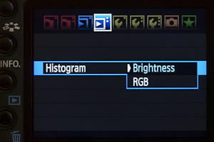 Select Histogram Brightness or RGB from MENU→ REVIEW settings.