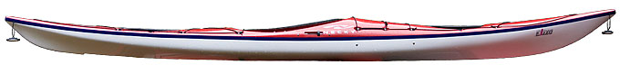 "Necky Eliza, 15'-3"" long, 21"" beam, Weight: 42 lbs. Low volume and low deck profile present some packing challenges."