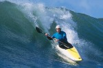 Kayak surfer Jonathan Fortner at Steamer Lane, Santa Cruz.