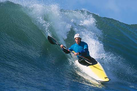 Kayak surfer Jonathan Fortner at Steamer Lane, Santa Cruz.