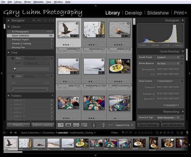 ]Lightroom library module showing thumbnails in content area,  left and right panels and film strip.