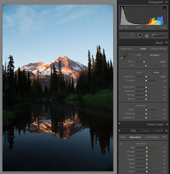 Lightroom 4: Panel 1. Image as it appeared on Import in Lightroom 4. Overall dark, but histogram looks ok; no pegged pixels. Mirror Lakes, Indian Henry's Hunting Ground, Mt. Rainier NP. Canon 5D III, 24-105mm f/4L @f/11,  1/5sec, iso100.