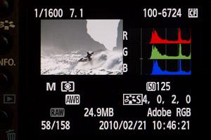 Camera back showing RGB histogram.