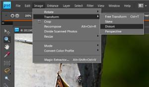Finding the Distort Tool: Image—»Transform—»Distort